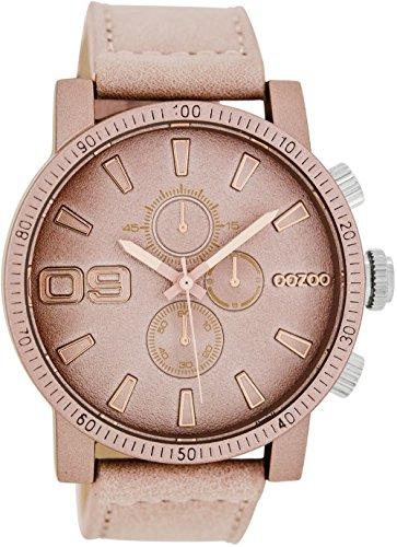 Oozoo Damenuhr mit Lederband 45 MM Pinkgrau/Pinkgrau C7495
