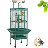 Yaheetech Large Parrot Cage Bird Cage for African Grey Parrots Cockatiels Sun Parakeets Conure Lovebirds Budgies Finches with Perch Stand Play Top and Wheels Green