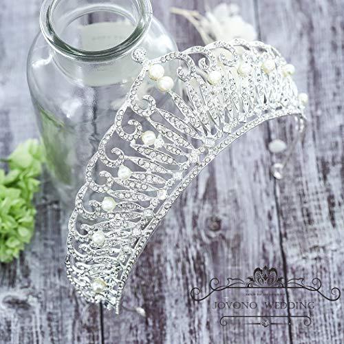Jovono Coronas de boda y Tiaras para adultos novia perla corona Tiara  Princesa Fiesta Accesorios para 9055d2ac9c16