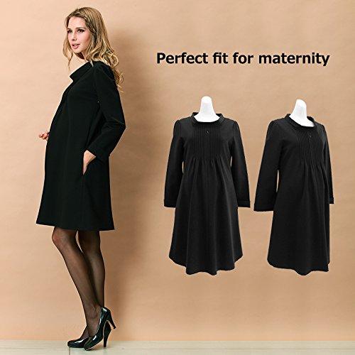 Romantic Pintuck Maternity and Nursing Dress Black
