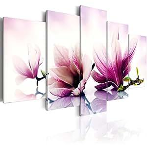 Quadro 200x100 cm ! Tre colori da scegliere - 5 Parti - Grande Formato - Quadro su tela fliselina - Stampa in qualita fotografica - rosa oro viola fiori Magnolien b-A-0070-b-p 200x100 cm B&D XXL