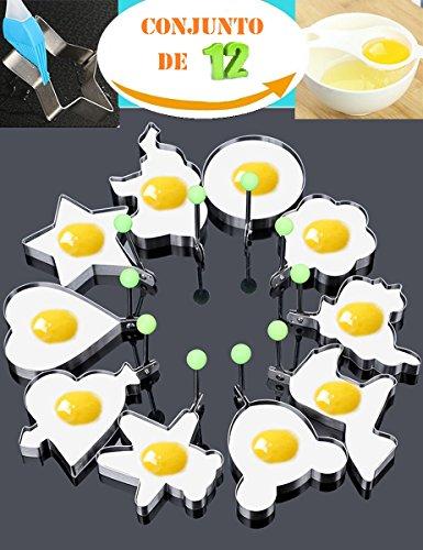 Anillo de molde de huevo frito cocina de panqueque antiadherente de acero inoxidable conjunto de 10 piezas dentro de regalo gratis de huevo separador blanco 1 unid y cepillo de pasta de silicona 1 unid para freír cocinar