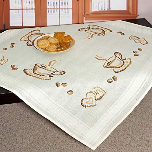 """Stickpackung Mitteldecke \""""KAFFEEPAUSE\"""" / Komplettes Vorgezeichnetes Tischdecken Set zum Sticken / Stickset mit Stickvorlage für Erwachsene / Sticken im Kreuzstich"""