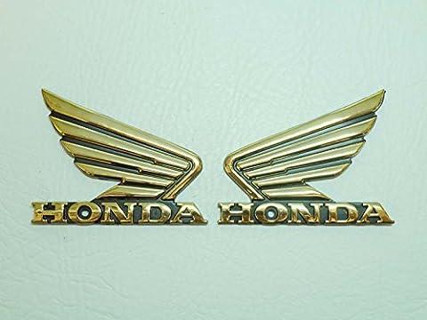 2x Gold Honda Flügel Motorrad Badge Emblem Motorrad Fuel Tank Aufkleber