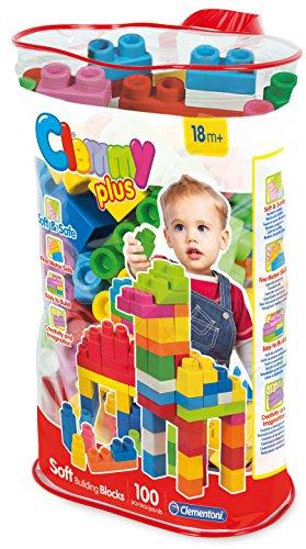 Clementoni - Bolsa con 100 bloques blanditos, juguete para bebé (149568)