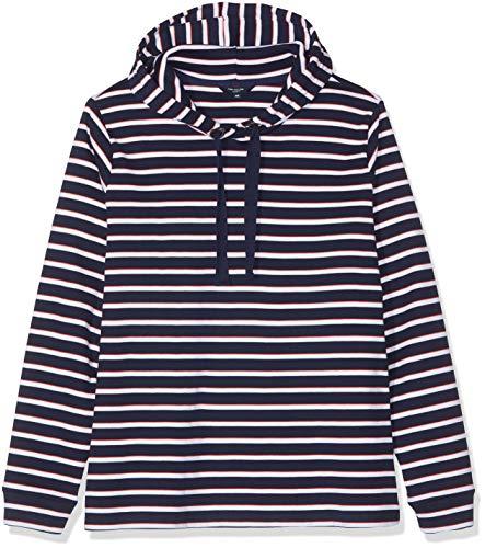 TOM TAILOR Denim Damen Sweatshirt Größen-kuscheliger Sweatpullover, Blau (True Dark Blue Strip 16358), 48 Womens Denim-jumper