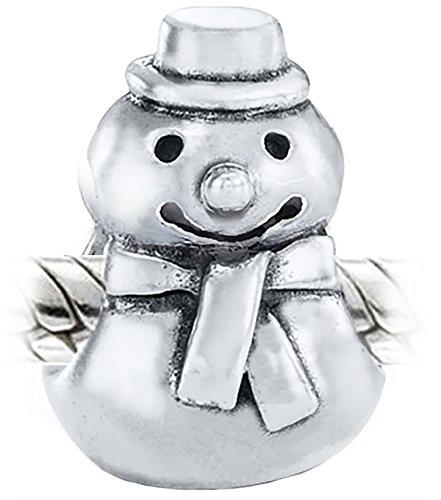Pupazzo di neve natalizio, in argento Sterling 925, compatibile con braccialetti Pandora, Biagi, Troll & braccialetti
