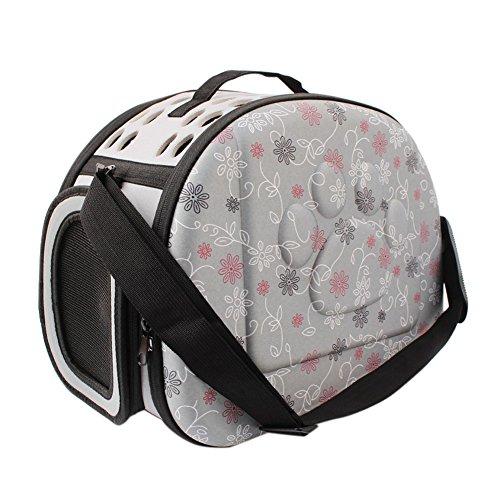 Boodtag Tragetasche Faltbar Hund Katze Umhängetasche für Transportieren Kleintiere Tasche Mesh atmungsaktiv Perfekt für Reisen mit dem Flugzeug oder mit dem Auto (Grau)