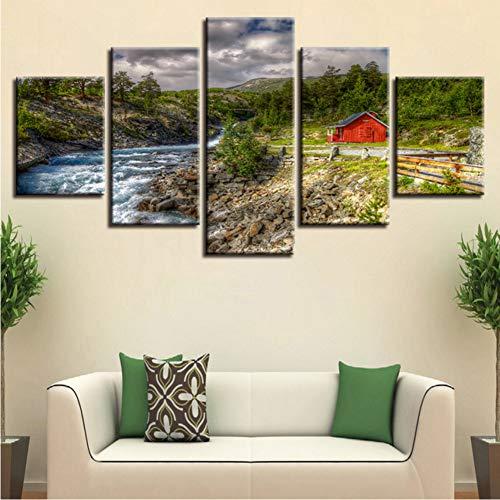 zyzdsd (Kein Rahmen) Leinwand Bilder Home Decor Hd Drucke Poster 5 Stücke Berg Bäume Stream Red Barn Landschaftsbilder Wandkunst Modulare