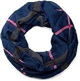 styleBREAKER Karo Muster Loop Schlauchschal, seidig leicht, kariert, Tuch, Damen 01016110, Farbe:Dunkelblau