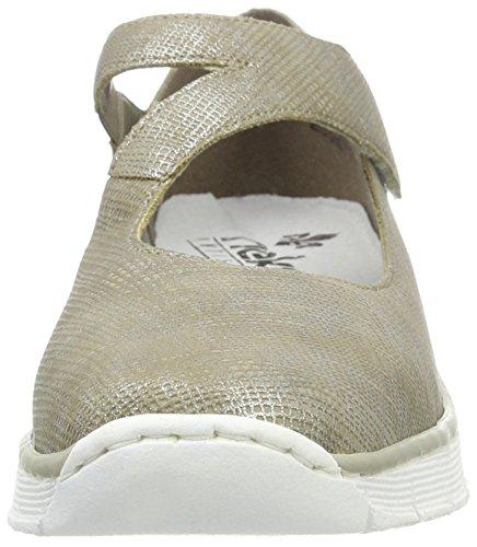 Rieker Damen 53793 Geschlossene Ballerinas Beige (fango-silver / 64)