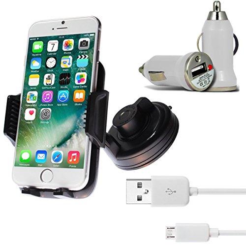 [3 in 1 Set] Premium KFZ Halterung Smartphone Handyhalterung mit 360 Grad Kugelgelenk und Power-Gel Saugnapf für Windschutzscheibe + KFZ USB Charger Ladegerät Adapter für Auto mit LED-Anzeige + Micro USB 2.0 Kabel 1 m Datenkabel Weiß von wortek