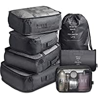 7 Pack Packing Cubes Value Set for Travel Luggage Organiser Bag Compression Pouches Clothes Suitcase Packing Organizers Set with Toiletry Bag (Black)