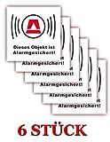 6 Stück - XL Folienaufkleber Alarm weiss Größe 10 x 10cm - (506g) - Dieses Objekt ist ALARMGESICHERT !!