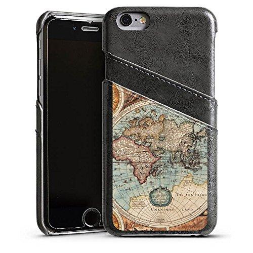 Apple iPhone 5c Housse Étui Protection Coque Carte du monde ancienne Carte Carte Étui en cuir gris