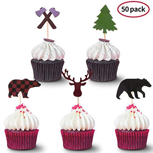 50 Stücke Holzfäller Cupcake Topper Wald Party Cupcake Topper Plaid Bär Baum Kuchen Topper für Baby Dusche Geburtstag Party Liferungen