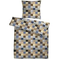 Leichtes Seersucker Bettwäsche Set 135 x 200 cm mit blauem Patchwork-Muster – atmungsaktiver Bettdecken- und Kopfkissen-Bezug aus reiner Baumwolle mit Reißverschluss – 2 tlg. kühle Sommerbettwäsche in Premium-Qualität