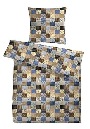 Leichter Seersucker Bettbezug 200 x 220 cm mit blauem Patchwork-Muster – atmungsaktiver Kopfkissen- und Bettdecken-Bezug aus reiner Baumwolle mit Reißverschluss – 3 teilige kühle Paarbettwäsche in Übergröße
