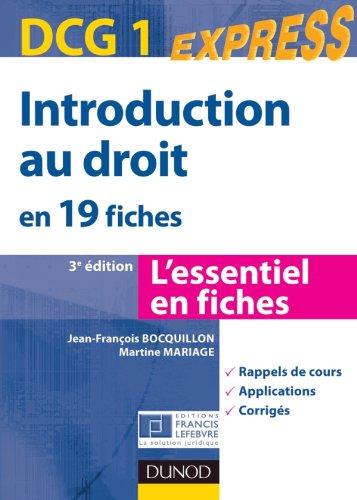 Introduction au droit DCG 1- en 19 fiches - 3ème édition