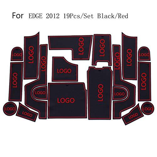 Fangfeen 19pcs Ersatz für Ford Edge 2012 Türschlitzauflage Auto-Innenraum-Aufbewahrungsbehälter Mat Wasser Cup Kissen -