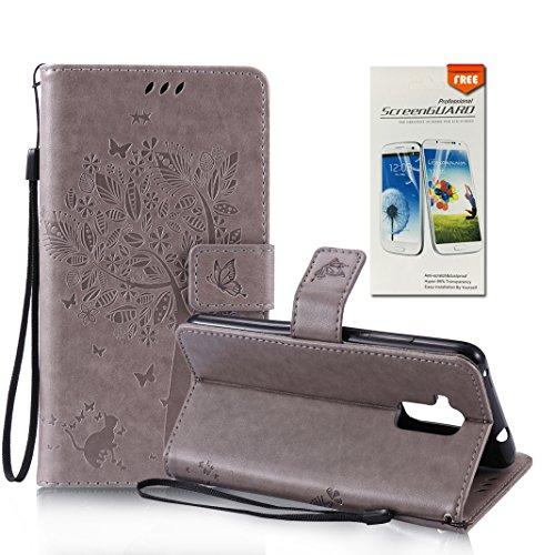 OuDu Impressum Muster Hülle für Huawei Honor 5C PU Leder Handyhülle Klapp Buch-Stil Ledertasche Baum&Schmetterling Schale Einzigartige Entwurf Tasche Kompletter...