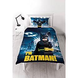 LEGO - Juego de Funda de edredón Individual de Batman Película con diseño de impresión Grande