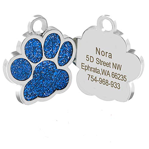 ToomLight Dog Tags Personalizzati Gatto inciso Cucciolo Pet ID Nome Collana Tag Ciondolo Pet Accessori Bone/Paw Glitter