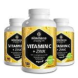 3 Dosen Vitamin C hochdosiert 1000 mg + Bioflavonoide + Zink 180 Tabletten vegan für 6 Monate Qualitätsprodukt-Made-in-Germany ohne Magnesiumstearat, 30 Tage kostenlose Rücknahme!