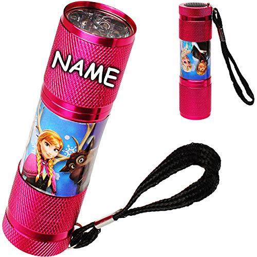 alles-meine.de GmbH Taschenlampe LED - Disney die Eiskönigin - Frozen - inkl. Name - aus Metall - Mini Lampe / Schlüsselanhänger - 9 Fach LEDlicht - Licht Auto ()