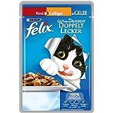 Felix So gut wie es aussieht Katzenfutter Doppelt lecker mit Rind und Geflügel, 20er Pack (20 x 100 g) Beutel
