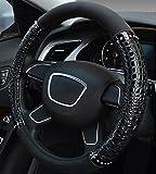 XuanMax Universal Krokodil Mikrofaser Leder Lenkradbezug Atmungsaktiv Fahrzeug Lenkradhulle Anti-Rutsch Lenkradschoner Auto Lenkrad Abdeckung Lenkradabdeckung Steering Wheel Cover 38cm - Schwarz