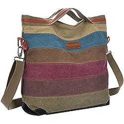 Handtaschen,Coofit Multi-Color-Striped Damen Handtasche Umhängetasche Schultasche Canvas Shopper Tasch