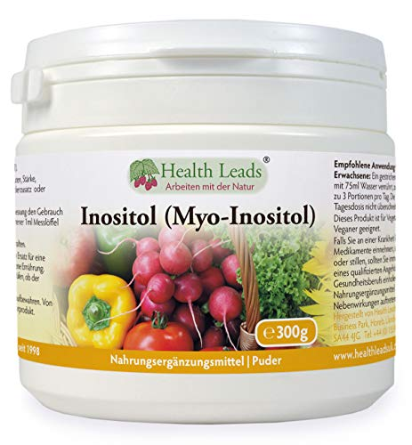 Inositol (Myo-Inositol) Pulver 300g | Auch Vitamin B8 genannt | Hohe Absorption | VEGAN | Magnesiumstearat frei & ohne üble Zusatzstoffe |GVO frei |Messlöffel inklusive | Hergestellt in Wales -