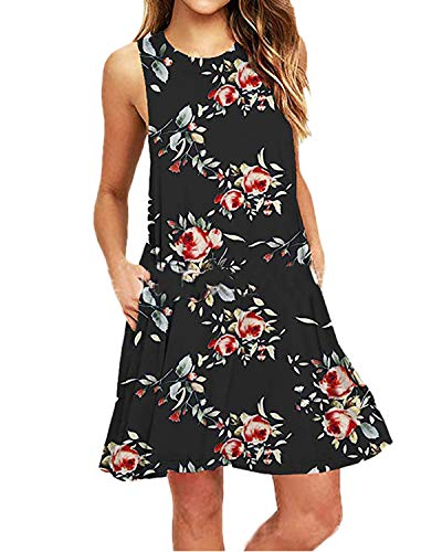 Kidsform Damen Sommerkleider Knielang Blumen Kurz Minikleid Sommer Kleider T-Shirtkleid Casual Tops Schwarz EU40/Etikettgröße L