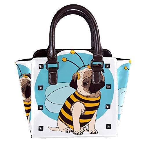 Nananma Schultertasche mit Tragegriff für Damen, Leder, mit lustigem Mops, Kostüm, Bienenen-Druck, Umhängetasche, Kuriertasche, Hobo-Tasche, Handtasche (Lustige Mops Kostüm)