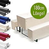 Hussen-Set für Bierzeltgarnitur, Länge 180 cm - 1x Biertischhusse 180x50 cm & 2x Bierbankhusse 180x25 cm - Ecru