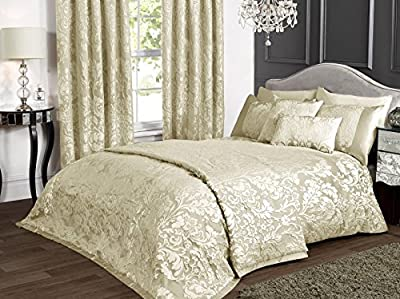 KLiving Luxury Charleston Cream Jacquard Bedding Duvet Cover Bedspread  Boudoir Cushion Cover Curtains - cheap UK light shop.