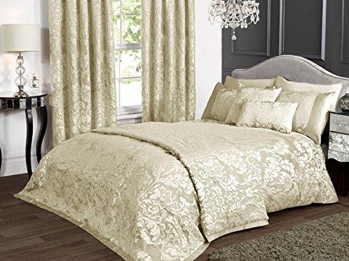 kliving Luxus Charleston Creme Jacquard Bettwäsche Bettbezug Tagesdecke Boudoir Kissenbezug Vorhänge, Doppelbett (Elfenbein Boudoir Kissen)
