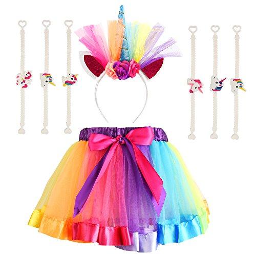 FEPITO Girls Layered Regenbogen Tutu Röcke mit Einhorn Horn Blume Stirnband und 10Pack Einhorn Armbänder Armband für Mädchen Geburtstag Party Favors Supplies (Passt Alter ()