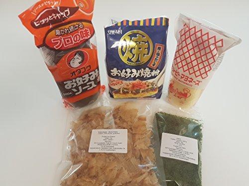TOP > Okonomiyaki Zutaten im Set: Okonomiyaki Mehl (Ko), Okonomi Sauce, Japanische Mayonnaise, Katsuobushi, Aonori…