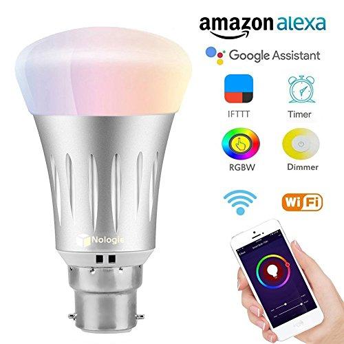Smart LED WLAN Lampe, Wifi Birne Lampen B22 Multi Farbe LED Dimmbare 7W RGB Glühbirne, funktioniert mit Amazon Alexa und Google Home,Steuerbar via App für iOS und Android