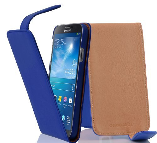 Cadorabo Hülle für Samsung Galaxy MEGA 6.3 - Hülle in BRILLIANT BLAU – Handyhülle aus glattem Kunstleder im Flip Design - Case Cover Schutzhülle Etui Tasche
