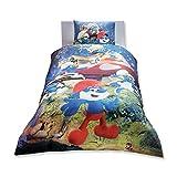Original Lizenziert Bettwäsche-Set, Lost Village Schlümpfe Design, Single Größe, 100% Baumwolle, 3-Teilig (Bettbezug + Spannbettlaken + Kissenbezug)