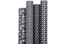 7mm Between the Lines Gift Wrappers - Monochrome Darks (set of 4 sheets), 20 x 30 inch sheet