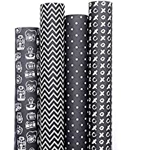 7mm™ Gift Wrappers - Monochrome Darks (set of 4 sheets), 20 x 30 inch sheet