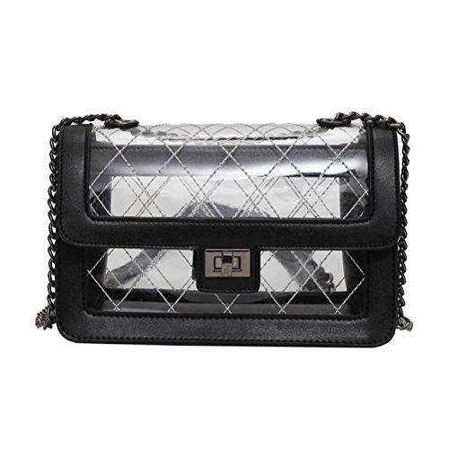OULII Messenger Kette Tasche transparent Jelly Bag stilvolle Kette kleine quadratische Umhängetasche für Frauen Dame (schwarz) -