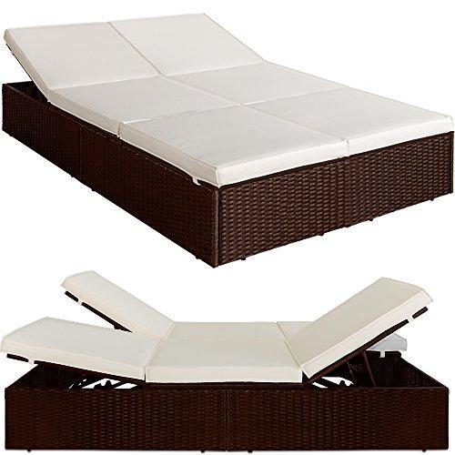 Bain de soleil double lit canapé sofa coussins 7cm épais crème polyrotin brun