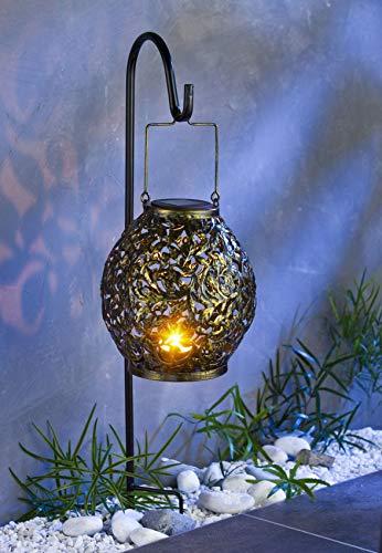 Buri LED Solar-Gartenlaterne 100cm Gartenleuchte Kerzenhalter Gartendeko Gartenlampe