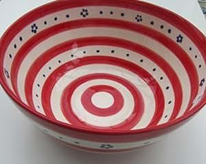 salatsch ssel dekoschale gro e sch ssel rot blau wei keramik salatschale schale sch ssel. Black Bedroom Furniture Sets. Home Design Ideas