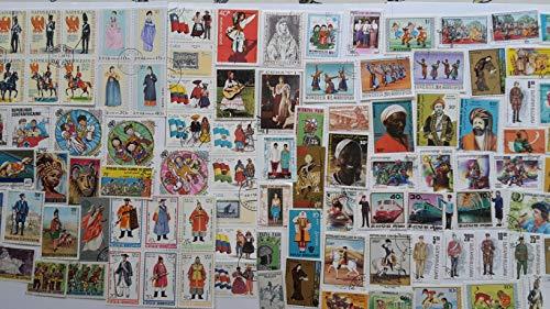 Briefmarke Kostüm - 200 verschiedene Kostüme Briefmarken-Kollektion (Briefmarken für Sammler) traditionelles Kleid Militär Kleid